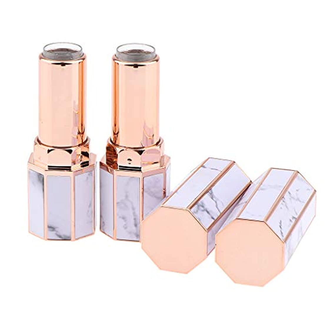 混合ドラマ識別する2個の空の口紅容器リップクリームチューブ高品位手作りDIY化粧ボトル - 大理石