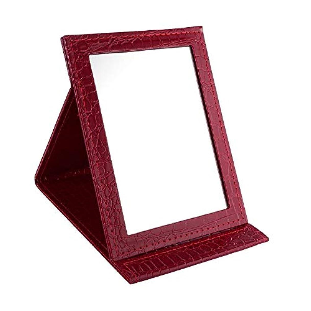 変更交じるワンダーYummyBuy 化粧ミラー 折りたたみ ミラー 鏡 卓上 化粧 化粧鏡 角度調整自由自在 上質PUレザー使用(クロコダイル?パターン、2サイズ) (大きなサイズ, レッド)