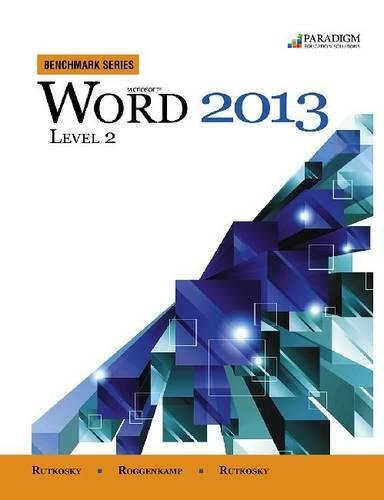 Download Benchmark Series: Microsoft (R) Word 2013 Level 2: Text with data files CD 0763853887
