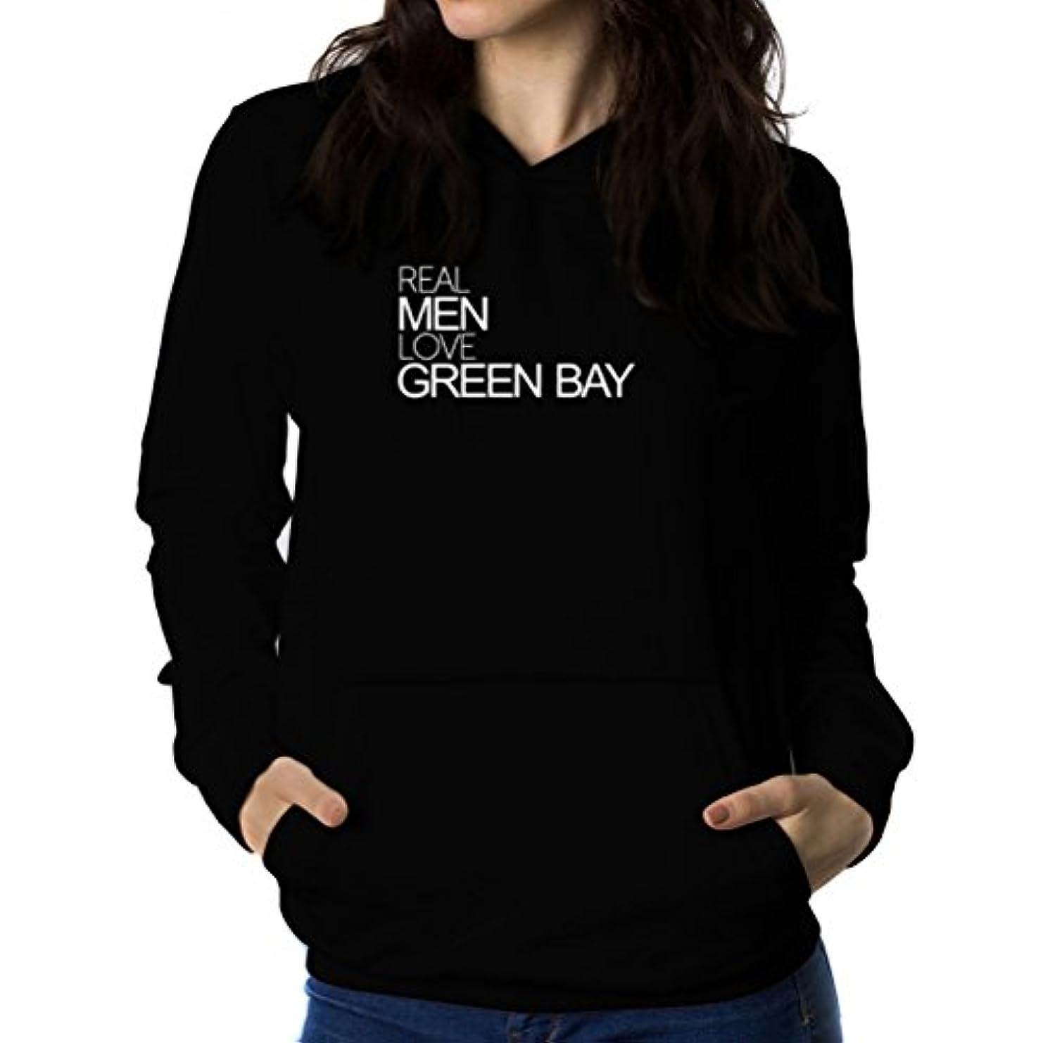 布うなる委員会Real men love Green Bay 女性 フーディー