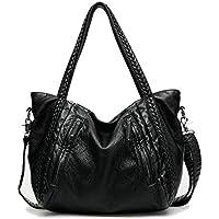 Braided Handbag EASEU Women Big Capacity Top-handle Tote Bag Soft Faux Leather Shoulder Bag