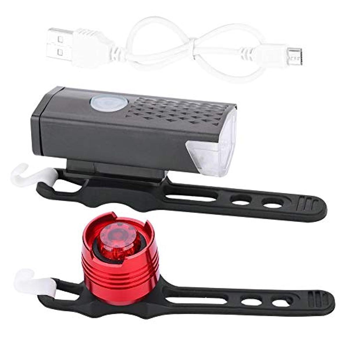 ワット木製故意に自転車ライト 防水 マウンテンバイク ヘッドライト&リアライト USB充電式 サイクリング ライトセット 2モード 照明