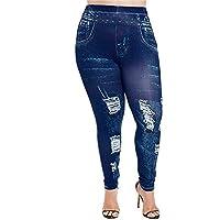Jahurto Printed Trousers Denim Denim Jeans Plus Size Womens Leggings (Color : Style_b-Dark Blue, Size : XXXXX-Large)