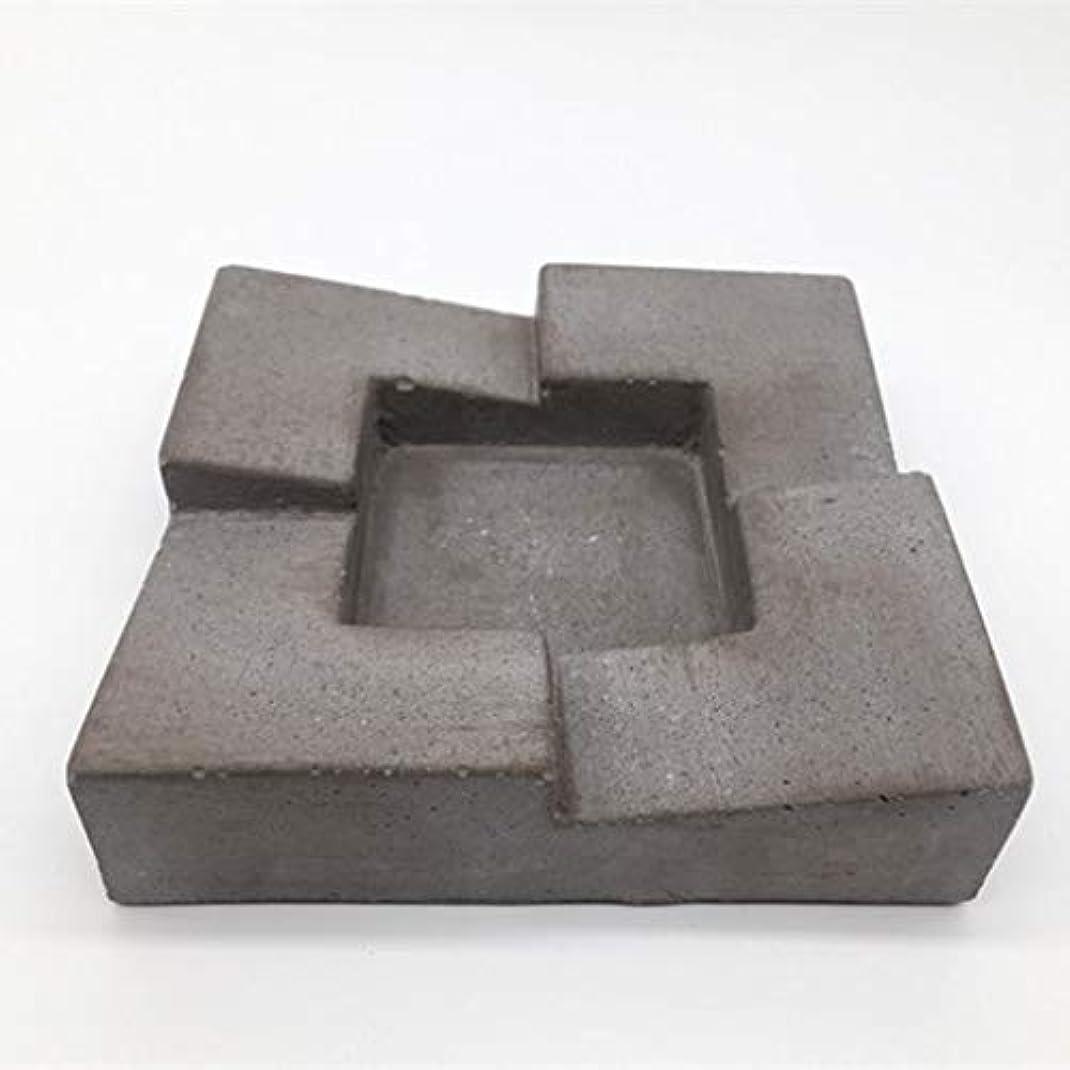 ミントサロン否認するビンテージ手彫り灰皿、ホームデスクトップ家具葉巻コンクリートリビングルームバーオフィスセメント灰皿(グレー)品質保証