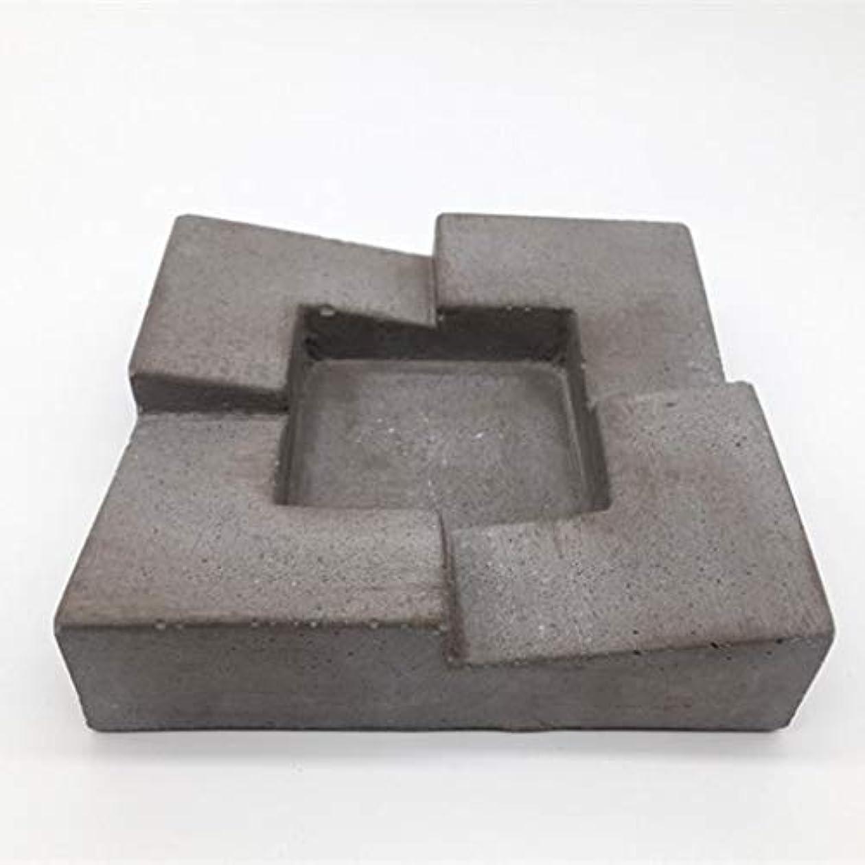 サイレントポジション名前ビンテージ手彫り灰皿、ホームデスクトップ家具葉巻コンクリートリビングルームバーオフィスセメント灰皿(グレー)品質保証