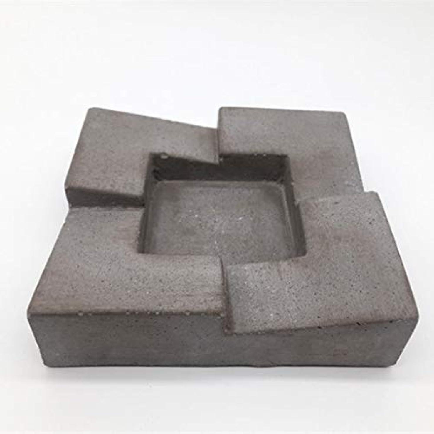 気をつけてヒューズスマッシュビンテージ手彫り灰皿、ホームデスクトップ家具葉巻コンクリートリビングルームバーオフィスセメント灰皿(グレー)品質保証