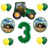 バルーン 12点セット グリーン 3歳の誕生日 トラクター サードパーティー 記念品 ギフト デコレーション VHTF
