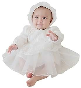Mikistory セレモニードレス 新生児 女の子 ベビードレス お宮参り 結婚式 退院着 出産祝い ギフト用 ホワイト 長袖 帽子付き 66