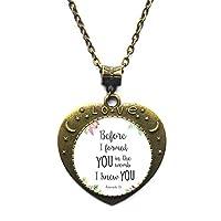 私があなたになる前に、私はあなたが保育園にいたことを知っていました聖書の一節のネックレスエレミヤ1:5の模様のガラスペンダントネックレスの宝石類。、TAP261