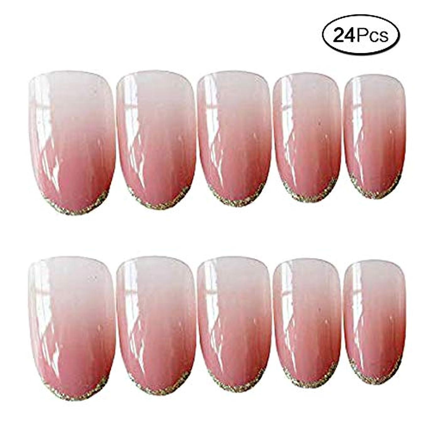 引き受けるきらめく注文24枚入 人気の色 手作りネイルチップ ファッション プノンペン グラデーション色 和風 夢幻