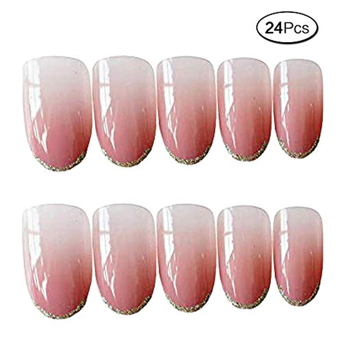 バーマド慎重最小化する24枚入 人気の色 手作りネイルチップ ファッション プノンペン グラデーション色 和風 夢幻