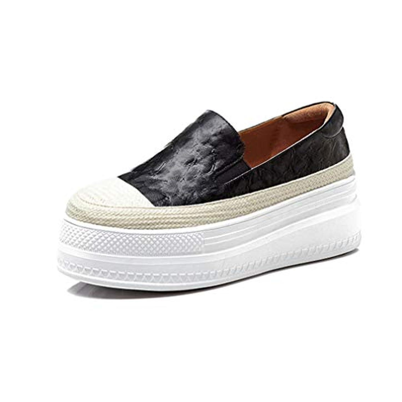 のホスト補償サイドボード女性のプラットフォームの靴2019新しい革ロートップカジュアルシューズレースアップラウンドヘッド織り靴アウトドアウォーキングブラックグリーン,Black,37
