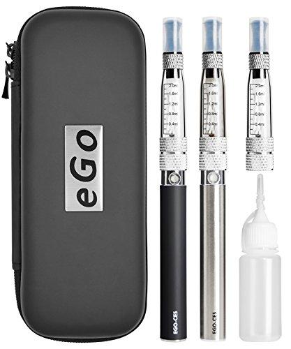 Meicent(JP) 電子タバコ 2本セット CE5 改良版 2.0ml大容量アトマイザー 1100mAh USB充電式 禁煙セット キャリングケース ストラップ付き (改良版ブラック+シルバー)