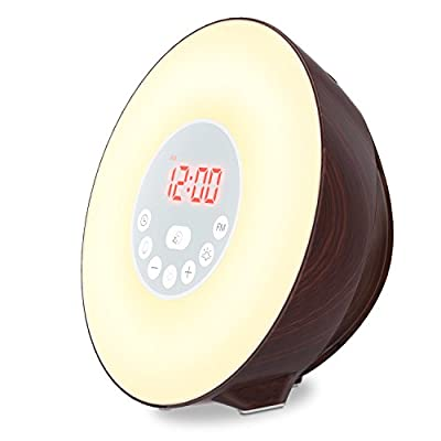 Wake up Light, Coulax Alarm Clock Sunrise & Sunset Simulator Digital Clock 7 Changeable Colors Touch Control LED Display Night Light Table Lamp with FM Radio Snooze Function 6 Nature Sounds