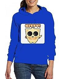 かわいいオレンジキティの子猫 Women Pocket Hoodie Sweater レディーズ トップス パーカー アクティブウェア