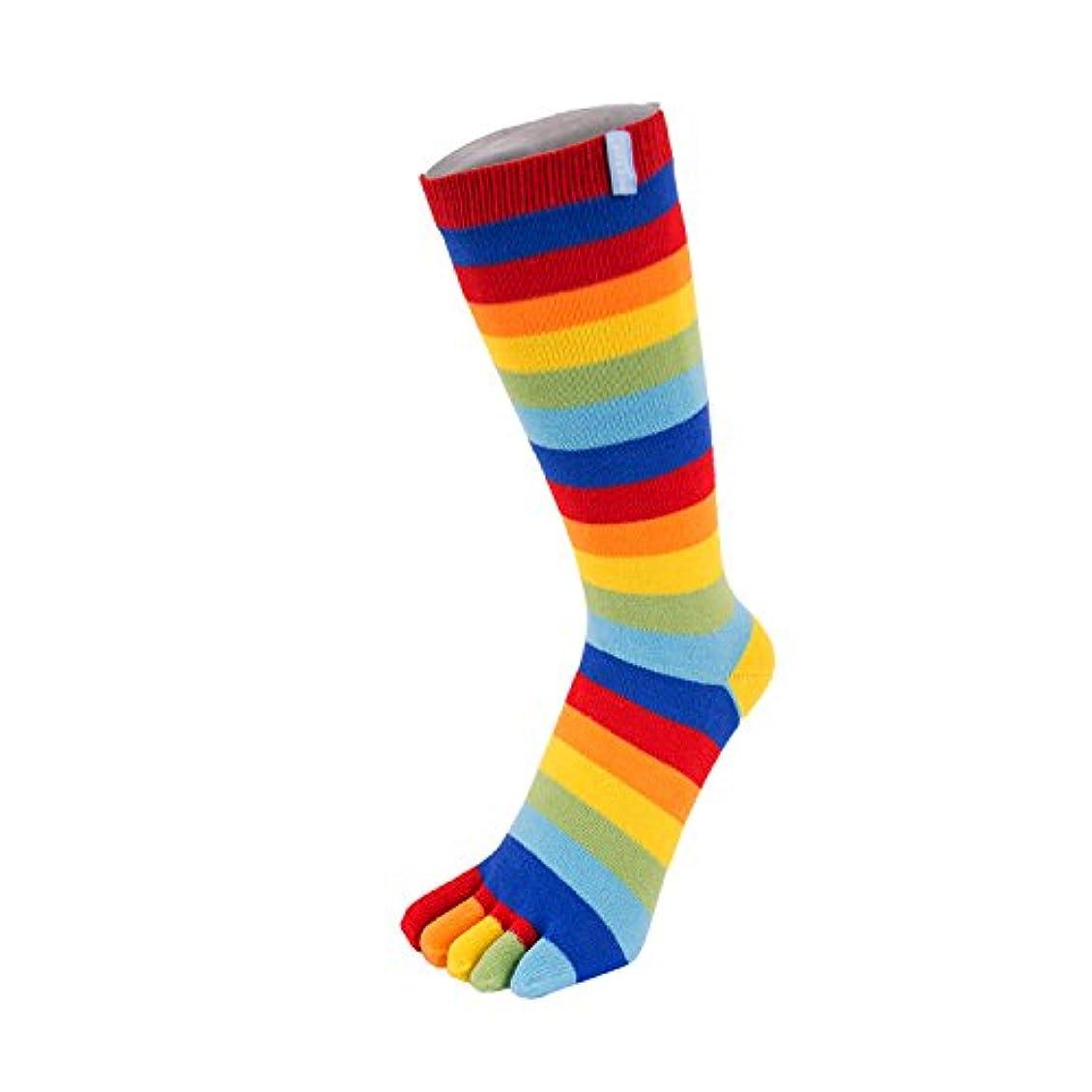 水星火山のトーンTOETOE - ESSENTIAL - Mid-Calf Stripy Toe Socks (UK 4-11 | EU 36-46, Rainbow)
