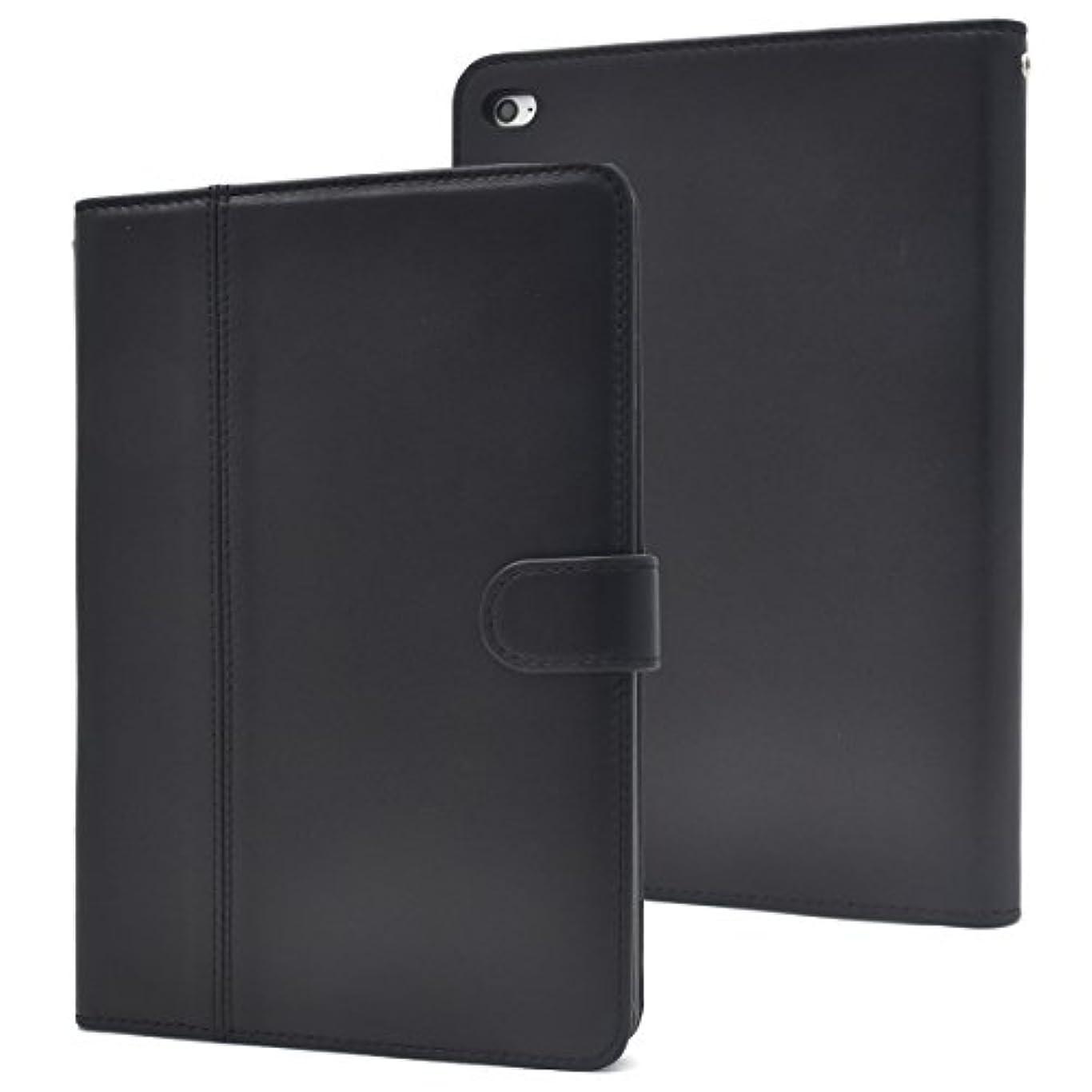 引退した掃くエミュレーションPLATA iPad mini 4 ケース 手帳型 本革 ラム シープスキン 手触りの良い 羊革 レザー スタンド カバー スリープモード 対応 【 ブラック 】 IPDM4-88BK