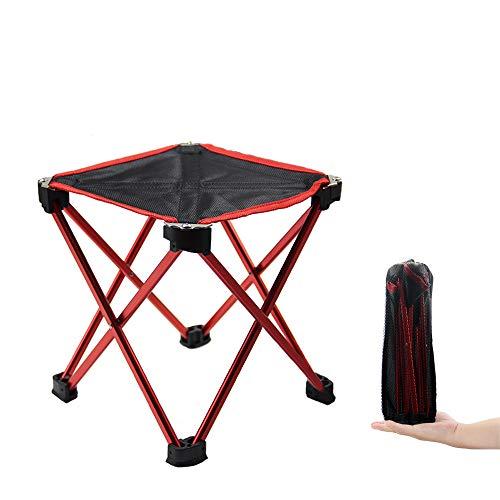 Tsuyumi折りたたみ椅子 アウトドアチェア 軽量 コンパクト イス 持ち運びやすい キャンプ用ローチェア 耐荷重80kg ミニおりたたみいす 収納バッグ付き レッド