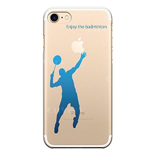 iPhone7 iPhone8 兼用 ハード クリア ケース 保護フィルム付 バドミントン (ブルー)