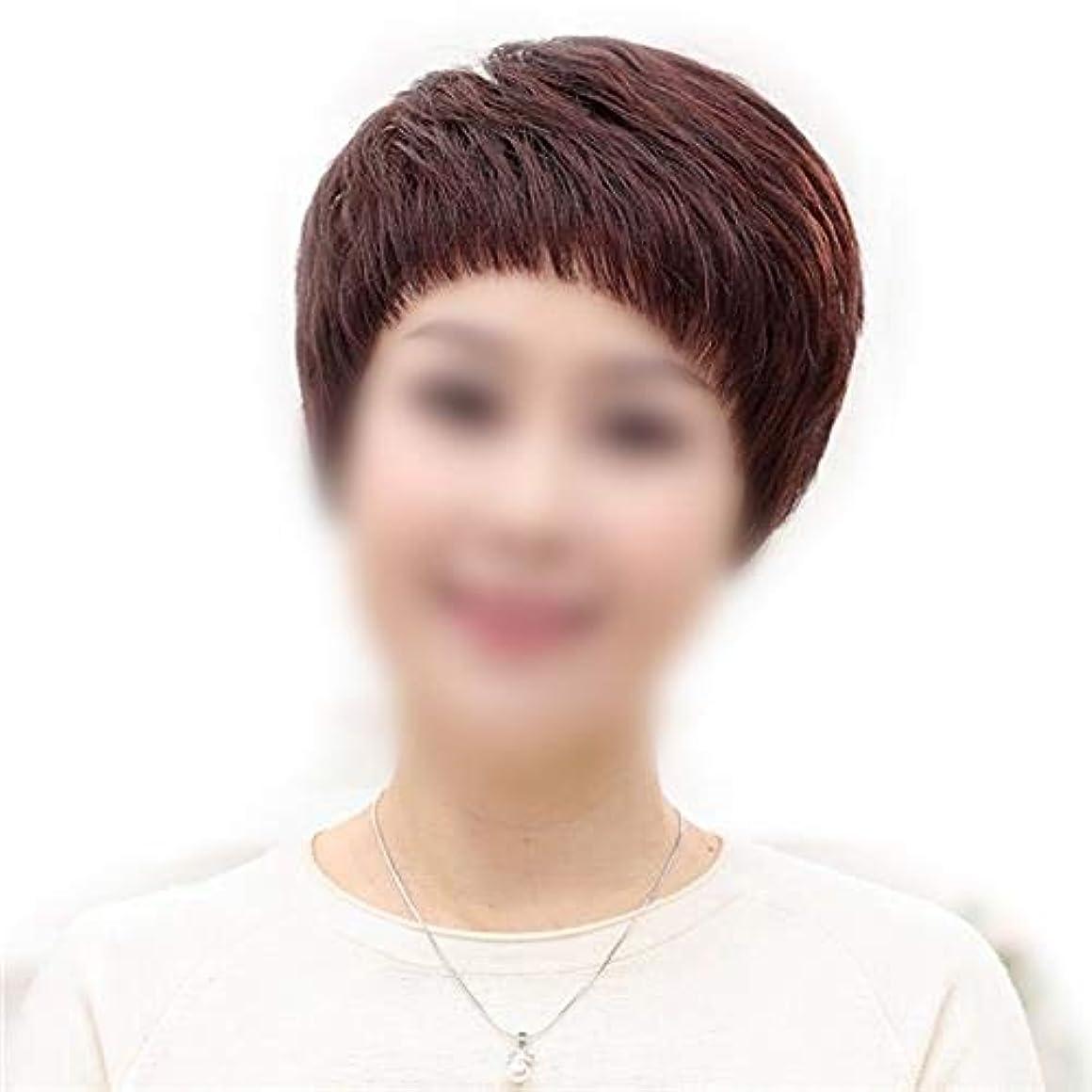 好奇心ダイアクリティカル失業者YOUQIU 女子ショートストレート髪のフルハンド織実ヘアウィッグデイリードレスウィッグ (色 : Natural black)