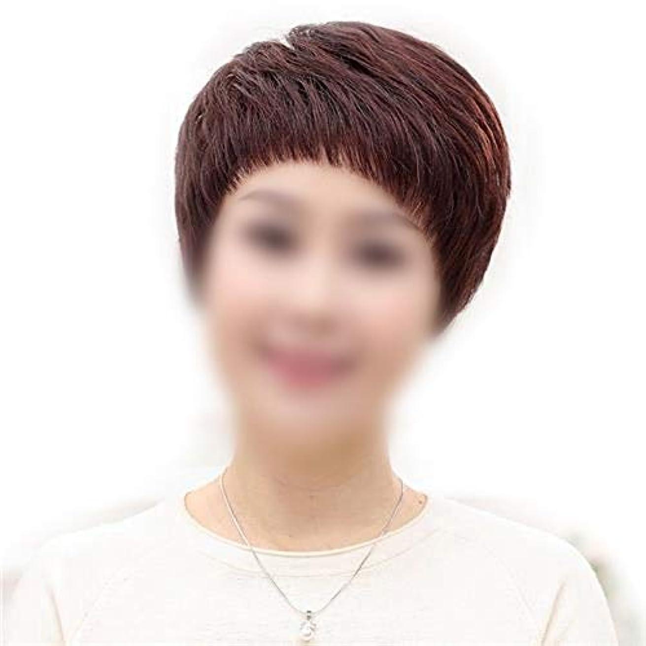 完璧なマットジャグリングYOUQIU 女子ショートストレート髪のフルハンド織実ヘアウィッグデイリードレスウィッグ (色 : Natural black)