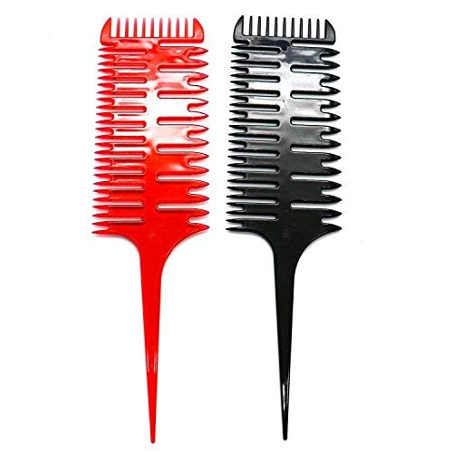 うつシロナガスクジラストレスの多いHUELE 2 Pcs Professional 3-Way Hair Combs Weaving & Sectioning Foiling Comb for Hair Black+Red [並行輸入品]
