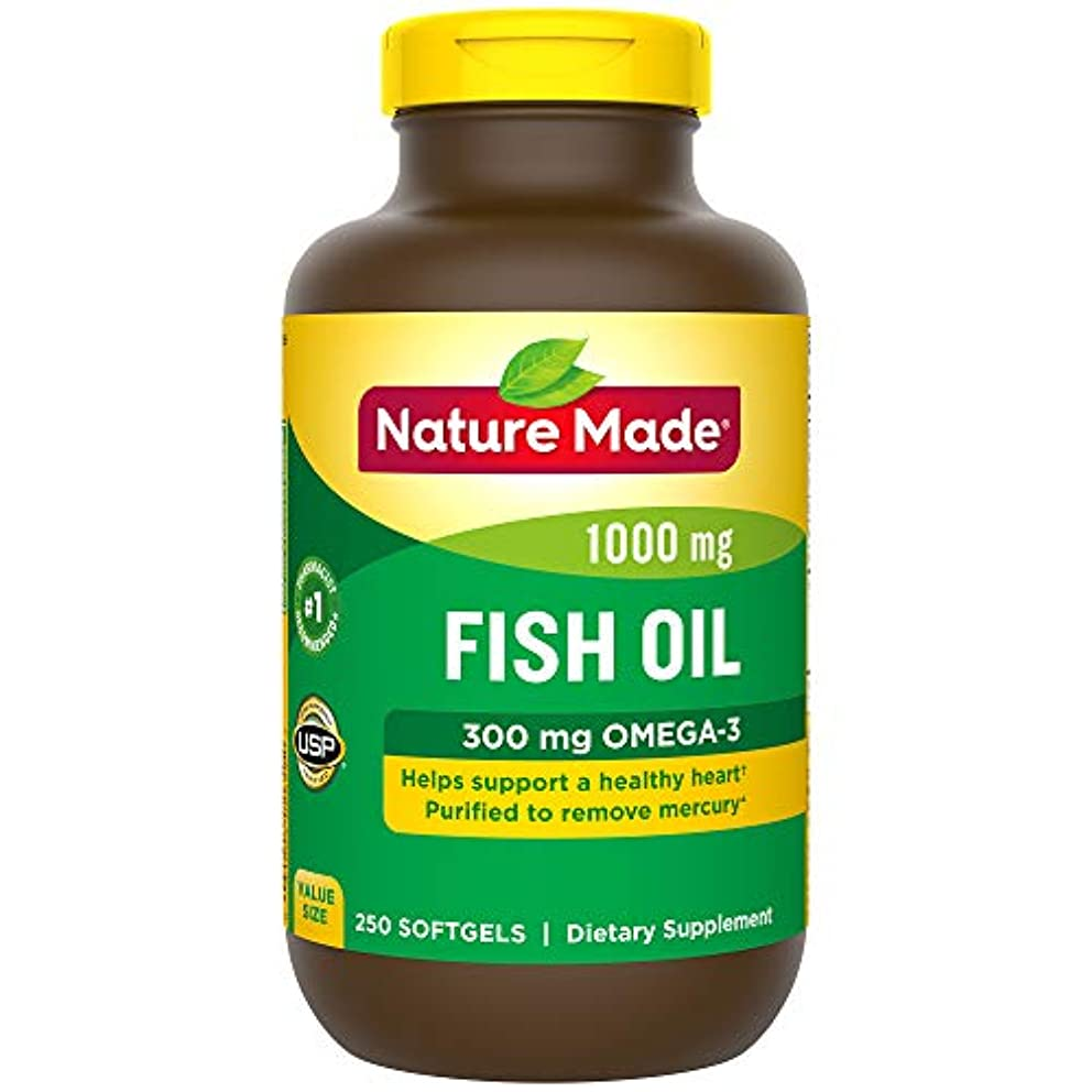 分子チャレンジ技術Nature Made Fish Oil 1000 Mg, Value Size, Softgels, 250-Count 海外直送品