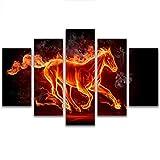 DEWUFAFA キャンバスアートワーク用壁馬装飾絵画ホームリビングルームアート絵画hdキャンバス5ピースセットでフレーム (Color : B, Size : 50x35cm\19.6x 13.7inch)