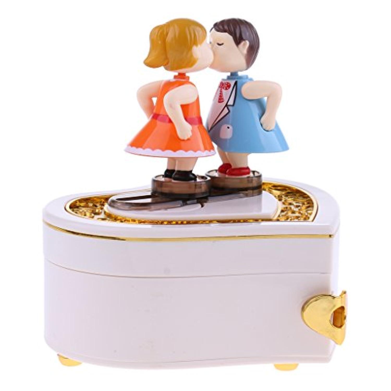 Kesoto ハート形 キス人形 オルゴール 時計仕掛け 音楽ボックス 誕生日プレゼント インテリア 飾りもの