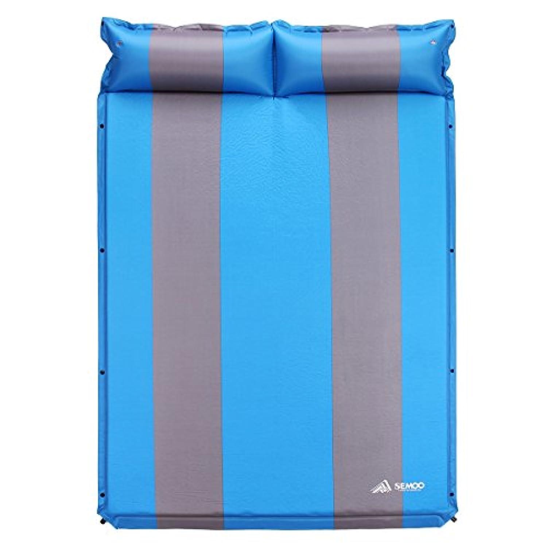 sEMOoダブル2 - Personデフクラブパッドキャンプ睡眠マット/パッド、190tポリエステル、撥水コーティング、with Attachedインフレータブル枕