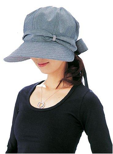 酒井法子プロデュース 後ろ姿も可愛いつば広帽子 グレー