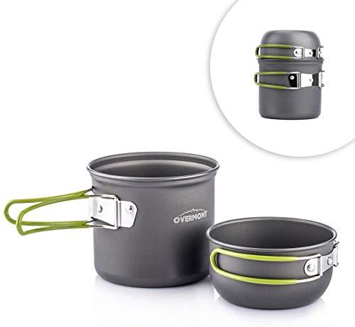 Overmont FDA認証 DS-101 アルミ クッカーセット アウトドア鍋 キャンピング 調理器具 食器 2点セット 4点...