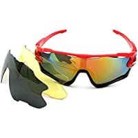 スポーツサングラス 偏光サングラス屋外エクササイズバイク乗馬メガネサングラスの3つのスライスセット 紫外線をカット スポーツサングラス 自転車 釣り 野球 テニス ゴルフ スキー ランニング ドライブ