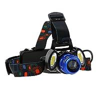 T TOOYFUL ヘッドライト ヘッドランプ 4モード 低消費電力 アウトドア作業 調整可能 ヘッドバンド 青