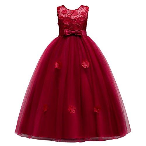 WOLFTEETH 子供ドレス ピアノ発表会 結婚式 演奏会 入園式 ロング丈 ワンピース 160cm ワインレット 4205