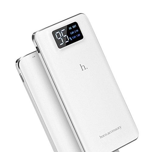 Tsuneo モバイルバッテリー 大容量 15600mAh 軽量 薄型 LCD残量表示 LEDライト付き 2 USBポート(1A+2.1A)スマホ 急速充電器 iPhone / Andoroid (15600mAh, ホワイト)