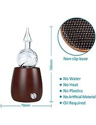 エッセンシャルオイルディフューザー、ポータブル超音波ディフューザークールミスト加湿器ウォーターレス自動シャットオフと7色LEDライト,Brown1