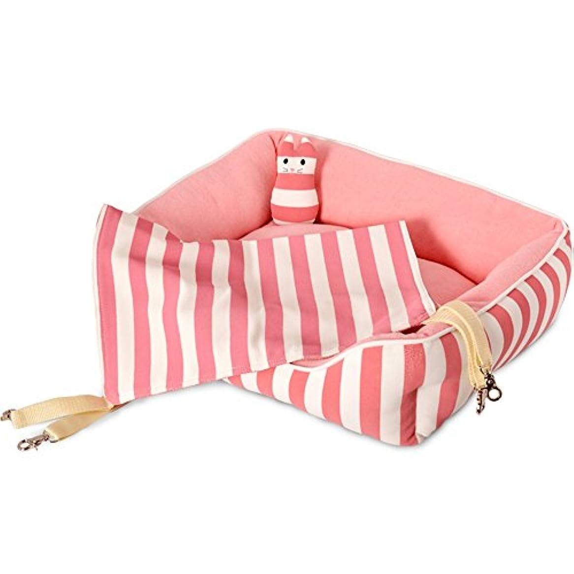 続けるアンティーク叱るGWDJ ハンモック小さな動物のハンモックストライプ平織りの布ペットのハンモックペットのハンモックの残りの部分ペットのハンモック (色 : Pink)