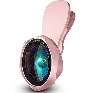 スマホ用カメラレンズ クリップ式レンズ0.6倍広角レンズ15xマクロレンズ 自撮りレンズ-Luxsure Iphone Android 全機種対応 簡単装着 ローズ型2in1 (ローズゴールド 2in1)
