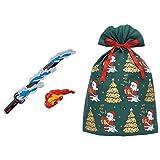 鬼滅の刃 DX日輪刀 + インディゴ クリスマス ラッピング袋 グリーティングバッグ4L メリーサンタ ダークグリーン XG605