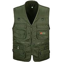 KINDOYO Mens Gilet Summer - Outdoor Multi-Pocket Waistcoat Vest for Middle-Aged Male