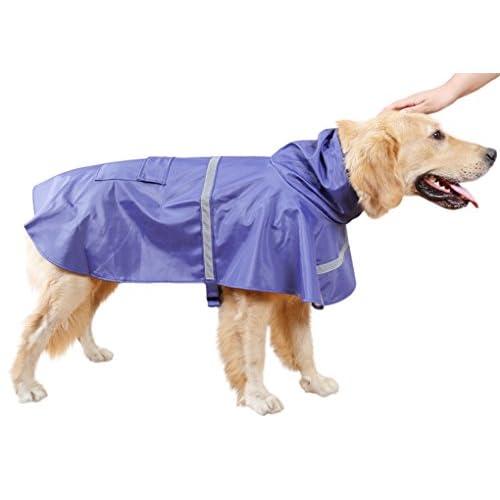 大型犬レインコートお洒落 ペット 中型犬 ドッグ ウェア 服 雨具 大きいサイズ 撥水通気 レインカバー 可愛い カッパ 反射テープ ドッグウェア ペット用品 ポンチョ 着脱簡単 ブルー L