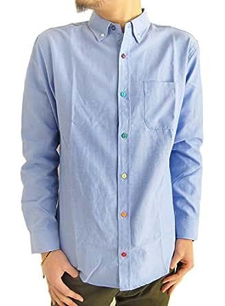 (アーケード) ARCADE 10color メンズ 春 シャツ オックスフォード ボタンダウンシャツ 長袖シャツ カジュアルシャツ M サックス(カラーボタン)