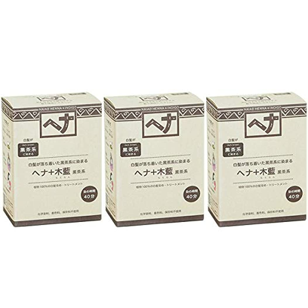 精通した例絶え間ないナイアード ヘナ + 木藍 黒茶系 白髪が落ち着いた黒茶系に染まる 100g 3個セット