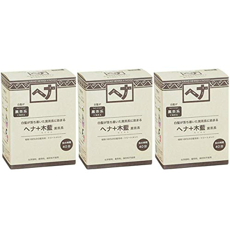 三あさり規範ナイアード ヘナ + 木藍 黒茶系 白髪が落ち着いた黒茶系に染まる 100g 3個セット