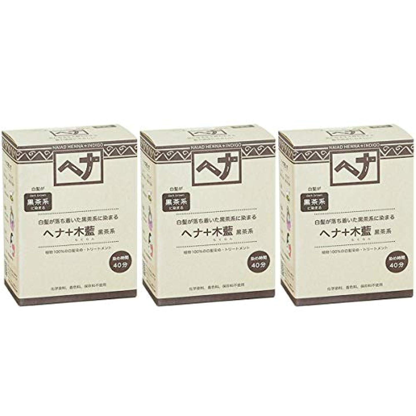 シルクアブセイ天使ナイアード ヘナ + 木藍 黒茶系 白髪が落ち着いた黒茶系に染まる 100g 3個セット