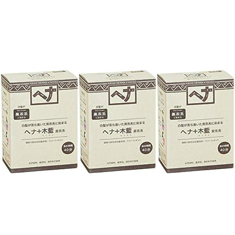 記述する誰が普及ナイアード ヘナ + 木藍 黒茶系 白髪が落ち着いた黒茶系に染まる 100g 3個セット