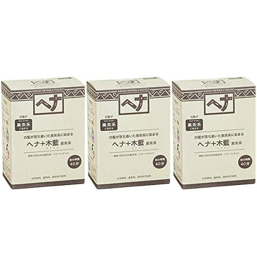 三十セットする後ナイアード ヘナ + 木藍 黒茶系 白髪が落ち着いた黒茶系に染まる 100g 3個セット