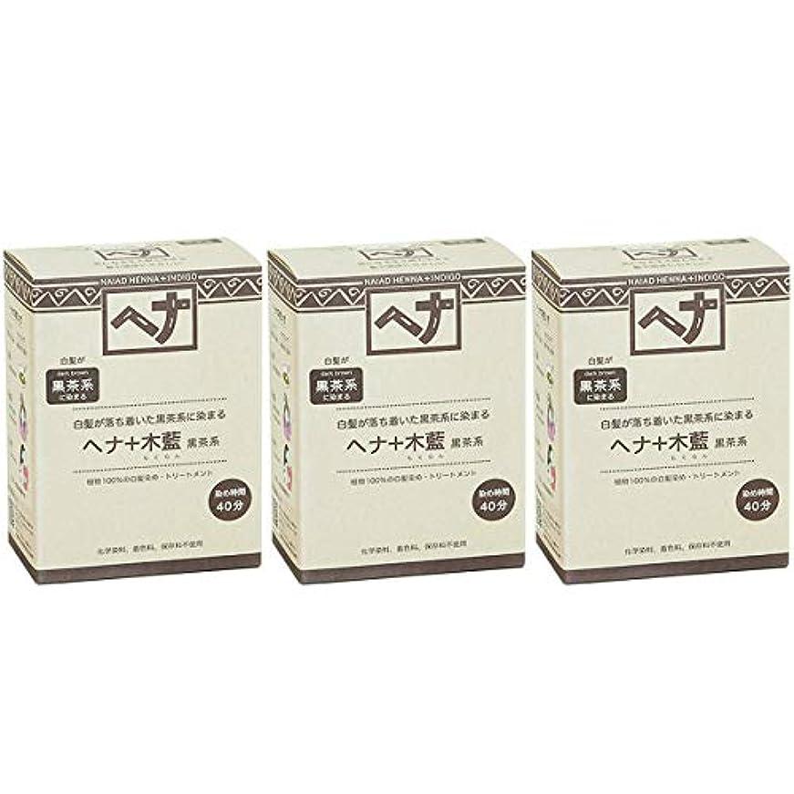 そしてあいさつ契約したナイアード ヘナ + 木藍 黒茶系 白髪が落ち着いた黒茶系に染まる 100g 3個セット