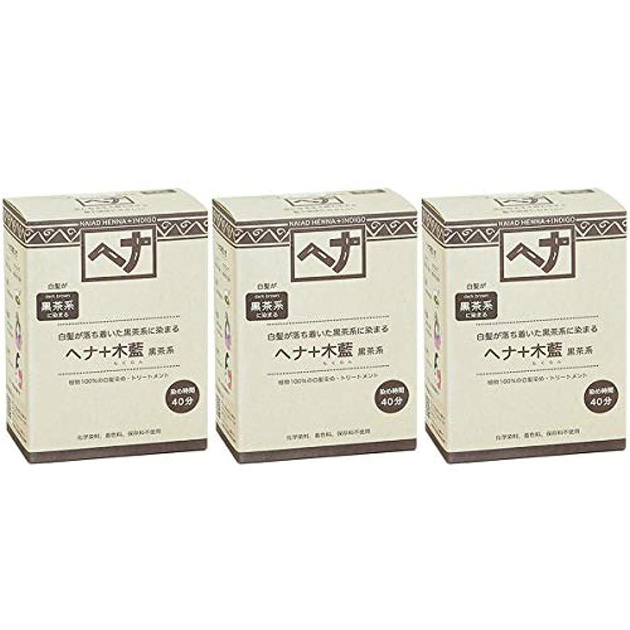 記者提供する寝具ナイアード ヘナ + 木藍 黒茶系 白髪が落ち着いた黒茶系に染まる 100g 3個セット